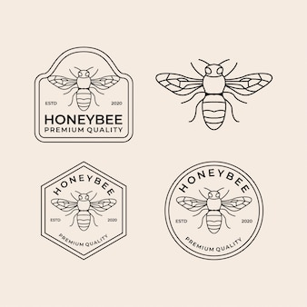 Honey bee line vintage logo set