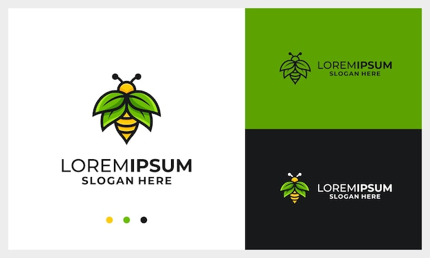 Honey bee logo design template with nature wing leaf concept logo template