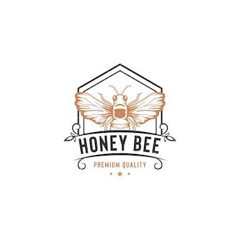 꿀 꿀벌 로고 템플릿 흰색 절연