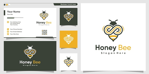 Honey bee logo with infinity line art style and business card design
