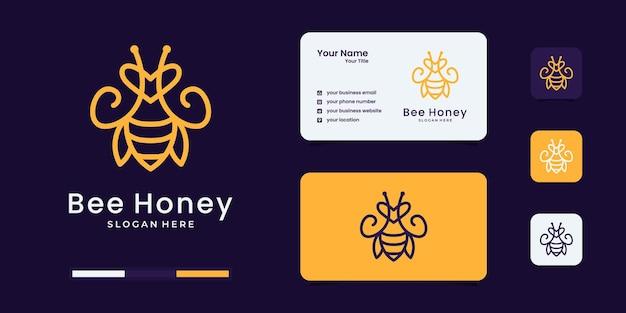 モダンなラインアートスタイルのロゴデザインテンプレートとミツバチのロゴ。
