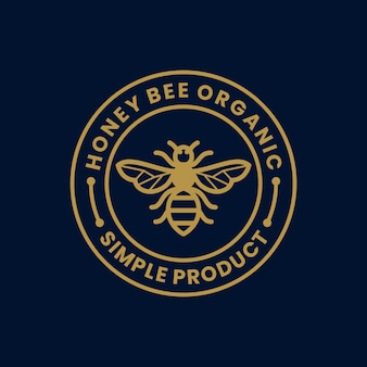 Honey bee organic product label simple retro vintage