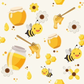 Honey bee pattern background