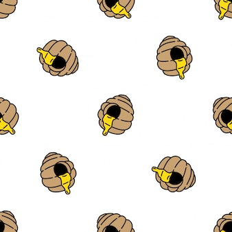 Honey bee seamless pattern beehive comb cartoon