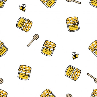 Honey bee seamless pattern beehive comb