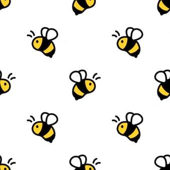 ミツバチのシームレスなパターン漫画イラスト
