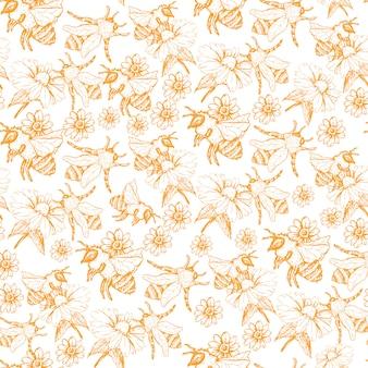 Медоносная пчела бесшовные модели, эскиз иллюстрации с пчелиными ульями в винтажном стиле