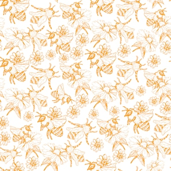Honey bee seamless pattern, sketch illustration with bee hives in vintage style