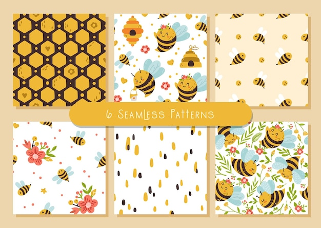 Honey bee seamless patterns bundle, cute bumble bee cartoon insects and summer flowers.