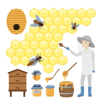 Honey bee set. man in unifrom with honeycomb and barrels.