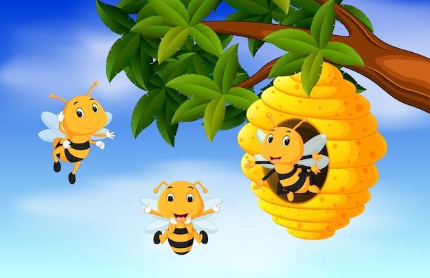 A honey bee under a tree