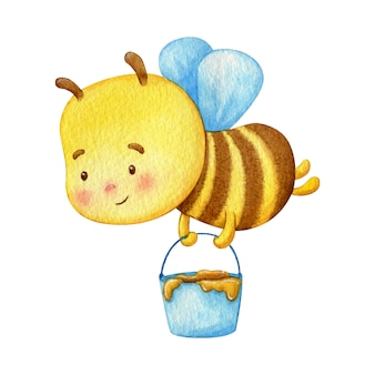 Honey bee worker fly with a honey bucketful. watercolor illustration of a cute young insect.