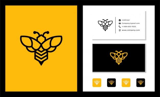 Шаблон дизайна логотипа honey bee