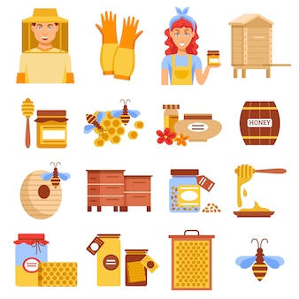 Honey beekeeping icon set