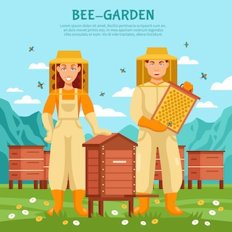 Honey beekeeping illustration poster