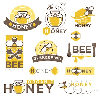 Honey beekeeping product vector icons templates set