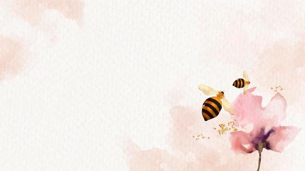 Медоносные пчелы и цветочный акварельный фон