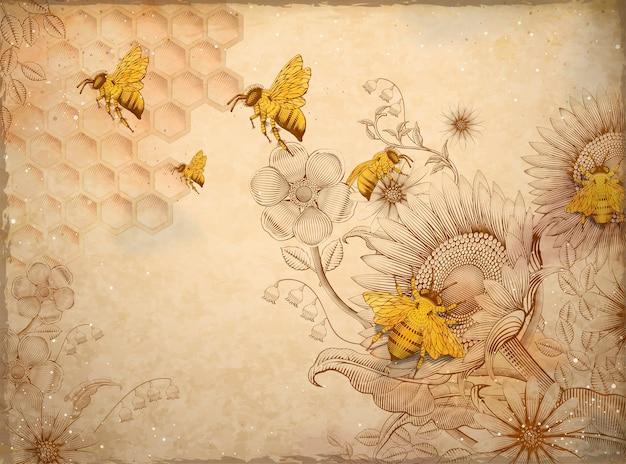 Медоносные пчелы и полевые цветы, ретро рисованные элементы стиля затенения травления, бежевый фон