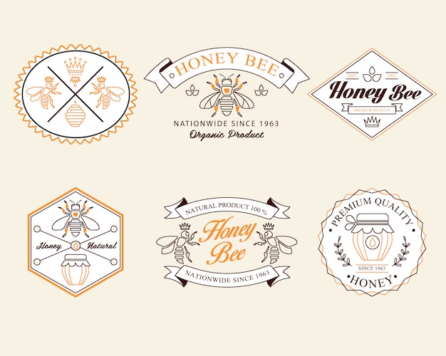 Honey and bees   badges, labels