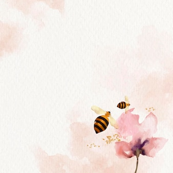 Honey bees and flower watercolor background