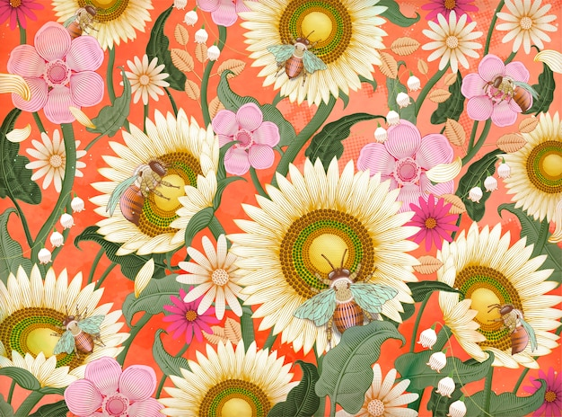 Honey bees and flowers background, retro hand drawn etching shading style  in colorful tone