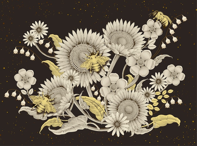 Honey bees and flowers background, retro hand drawn etching shading style  on dark brown background