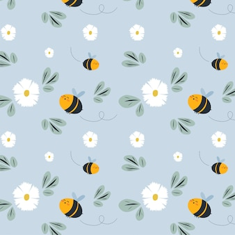 Honey bees and flowers background