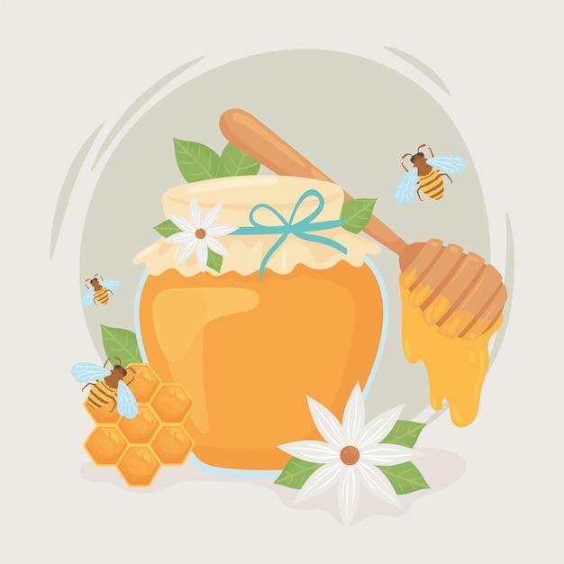 꿀 꿀벌 항아리