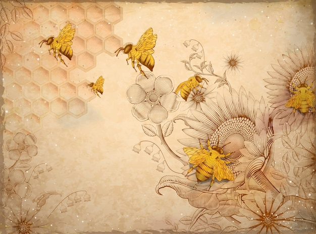 Honey bees and wildflowers, retro hand drawn etching shading style  elements, beige background