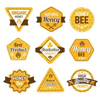 Мед лучшие высококачественные этикетки органических продуктов набор изолированных векторных иллюстраций