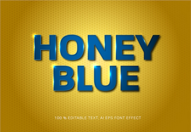 Honey blue editable text style effect