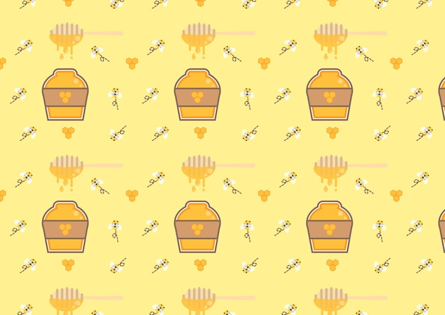 Honey bottle seamless pattern vector