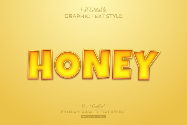 Honey cartoon editable premium text effect