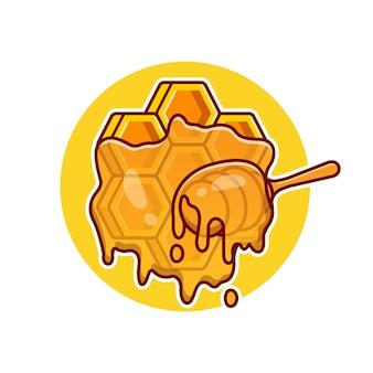 蜂蜜の櫛漫画ベクトルアイコンイラスト。食品自然アイコンコンセプト分離プレミアムベクトル。フラット漫画スタイル