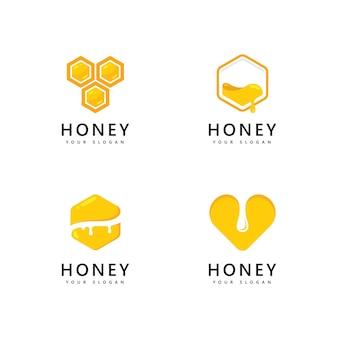 Мед в сотах логотип значок пчелы векторный дизайн