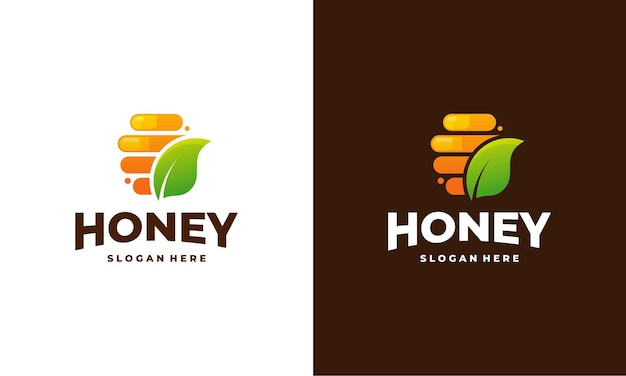 Вектор дизайна шаблона логотипа соты меда, эмблема, концепция дизайна меда, творческий символ