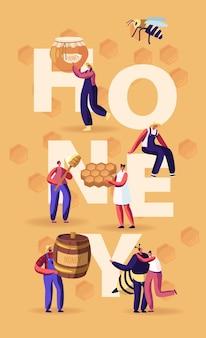 꿀 개념. 벌집, 숟가락, 항아리가있는 캐릭터. 만화 평면 그림