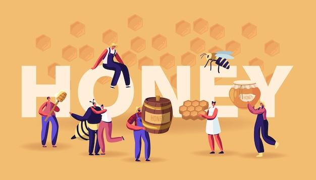 꿀 개념. 벌집, 숟가락, 항아리가있는 캐릭터. 달콤한 꿀벌 생산을 추출하고 먹는 사람들. 만화 평면 그림