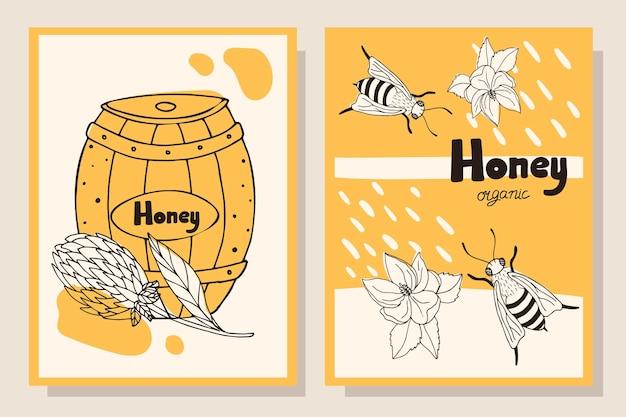 Концепция меда. набор флаеров с бочкой с медом, пчелы.