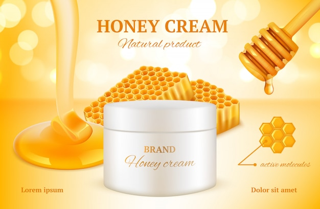 Honey cosmetics. nature sweet golden skin care natural product advertising packages woman cosmetic honeycomb