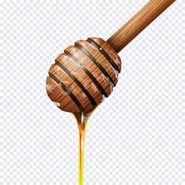 Honey dipper on transparent
