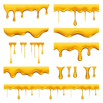 Honey dripped. liquid golden oil or sauce food drops caramel splash and flowing  realistic template