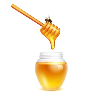 Honey dripping from dipper stick with honeybee in glass jar realistic design concept on white background