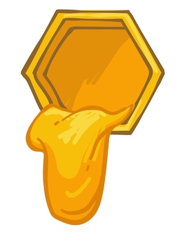 Honey dripping from hexagonal cell or honeycomb for bees. apiary and production of organic sweet nectar. ingredient for healthy dieting and immunity boosting. vector in flat style illustration
