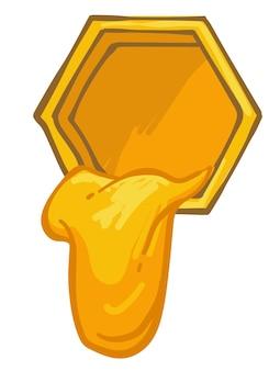 ミツバチの六角形のセルまたはハニカムから滴る蜂蜜。養蜂場と有機性の甘い蜜の生産。健康的なダイエットと免疫力を高めるための成分。フラットスタイルイラストのベクトル