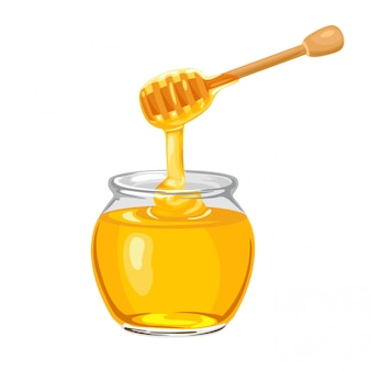 Honey dripping from wooden dipper into glass jar.