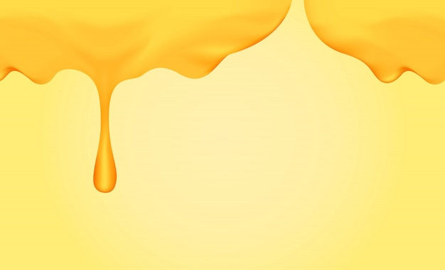 Honey dripping with honey dipper isolated on yellow gold background