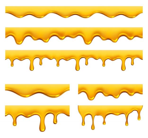 꿀 물이 뚝뚝 떨어지는. 노란 시럽 액체 황금 기름 방울과 현실적인 템플릿 밝아진