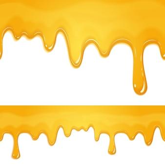 Honey drips banner set on white
