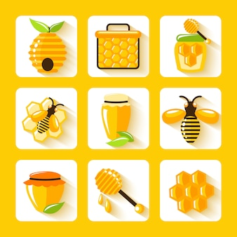 Honey drop comb bee hive and cell food agriculture flat elements set isolated vector illustration